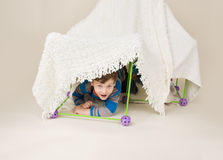 Child Playing with Tent, Fort Stock Images