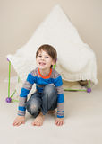 Child Playing with Tent, Fort Royalty Free Stock Images