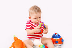 Child playing toys Royalty Free Stock Images