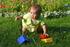Child playing with toys. On a grass Royalty Free Stock Image