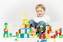 Child playing toys blocks Royalty Free Stock Image