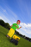 Child playing with truck Stock Photography