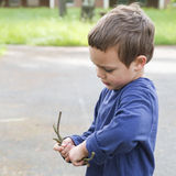 Child playing with twigs Stock Photography