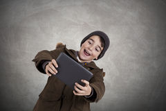 Child playing videogame Stock Photo