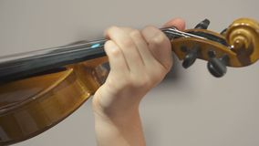 Child playing violin. Child fiddles. Violin close-up video. Bow and strings of violin. A child learns playing music stock video