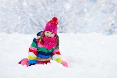 Free Child Playing With Snow In Winter. Kids Outdoors. Royalty Free Stock Image - 130545666