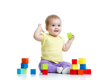 Child playing wooden toy blocks isolated royalty free stock photos