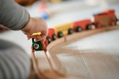 Wooden train toys Stock Image
