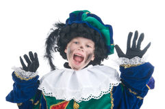 Child playing Zwarte Piet or Black Pete. Young child playing Zwarte Piet (Black Pete), this is a Dutch tradition when Sinterklaas is celebrated in december Stock Photography