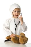 Child plays the doctor Royalty Free Stock Photo