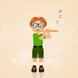 Child plays the flute. Illustration of child plays the flute Stock Image
