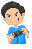 Child plays games on video game console Royalty Free Stock Photography