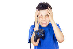 Child plays on the joystick Royalty Free Stock Photo