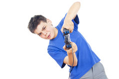 Child plays on the joystick Stock Photography