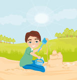 Child plays with sand. Vector Illustration Stock Images