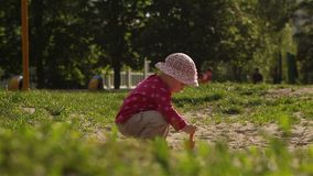 The child plays in the sandbox. Raises the scoop and pours out the sand. Child 16 months old stock video footage