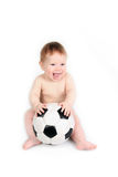Child plays with a soccerball. The small child plays with a soccerball Stock Images