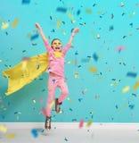Child plays superhero Stock Photos