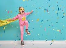 Child plays superhero Royalty Free Stock Photography