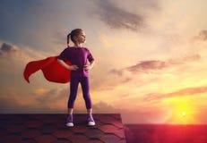 Child plays superhero Royalty Free Stock Photos