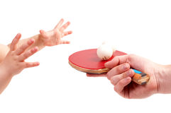 The child plays table tennis Stock Image
