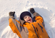 The child  plays to snow Stock Photo