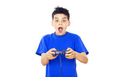 Child plays video games Stock Photos