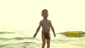 A child plays with water on a sea beach, in incoming waves, against a background of sunset in a slow motion. Slow motion stock video