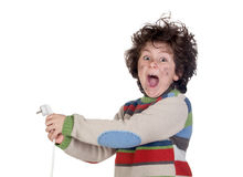 Child plug receiving electric shock Royalty Free Stock Photo