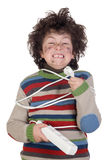 Child plug receiving electric shock Stock Images