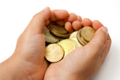 Child with pocket money. In her hands Stock Photography