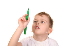 Child point pen Royalty Free Stock Photo