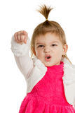 Child pointing finger hand forward closup Stock Photos