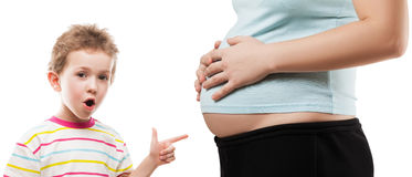 Child pointing his pregnant mother abdomen Stock Photo
