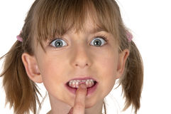 Child pointing to missing front teeth Stock Photography