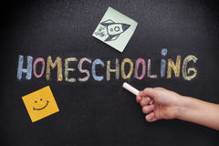 Child pointing at word Homeschooling on a blackboard Stock Photography