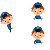 Child, police officer, copy space Royalty Free Stock Photography