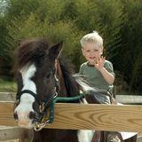 Child with pony. Little boy riding on pony Royalty Free Stock Images