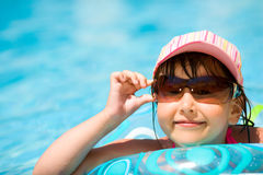 Child in pool royalty free stock photos