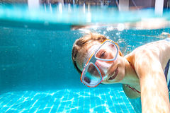Child in the pool underwater Royalty Free Stock Image