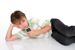 Child with portable mp3 player Stock Photography