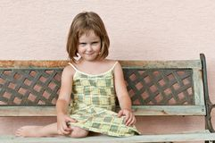 Child portrait. Outdoors portrait of small cute child - larky look Stock Photos