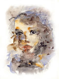 Child portrait. Watercolor portrait showing a child's face with emphasis on the eyes. Cleaned background Royalty Free Stock Image