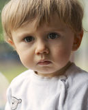Child Portrait. Baby boy gazing through a window Stock Images