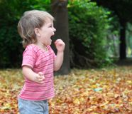 Child portrait in autumn forest. Cute child shouting in autumn park Stock Image