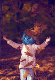 Child portrait in autumn park. No face. Royalty Free Stock Images