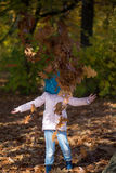 Child portrait in autumn park. No face. Royalty Free Stock Photography