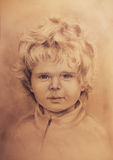 Child portrait, beautiful detailed drawing of little boy Stock Photos