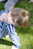 A child. Portrait of a child with a daisy in her hand Royalty Free Stock Images