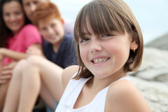 Child portrait in family vacation Stock Images